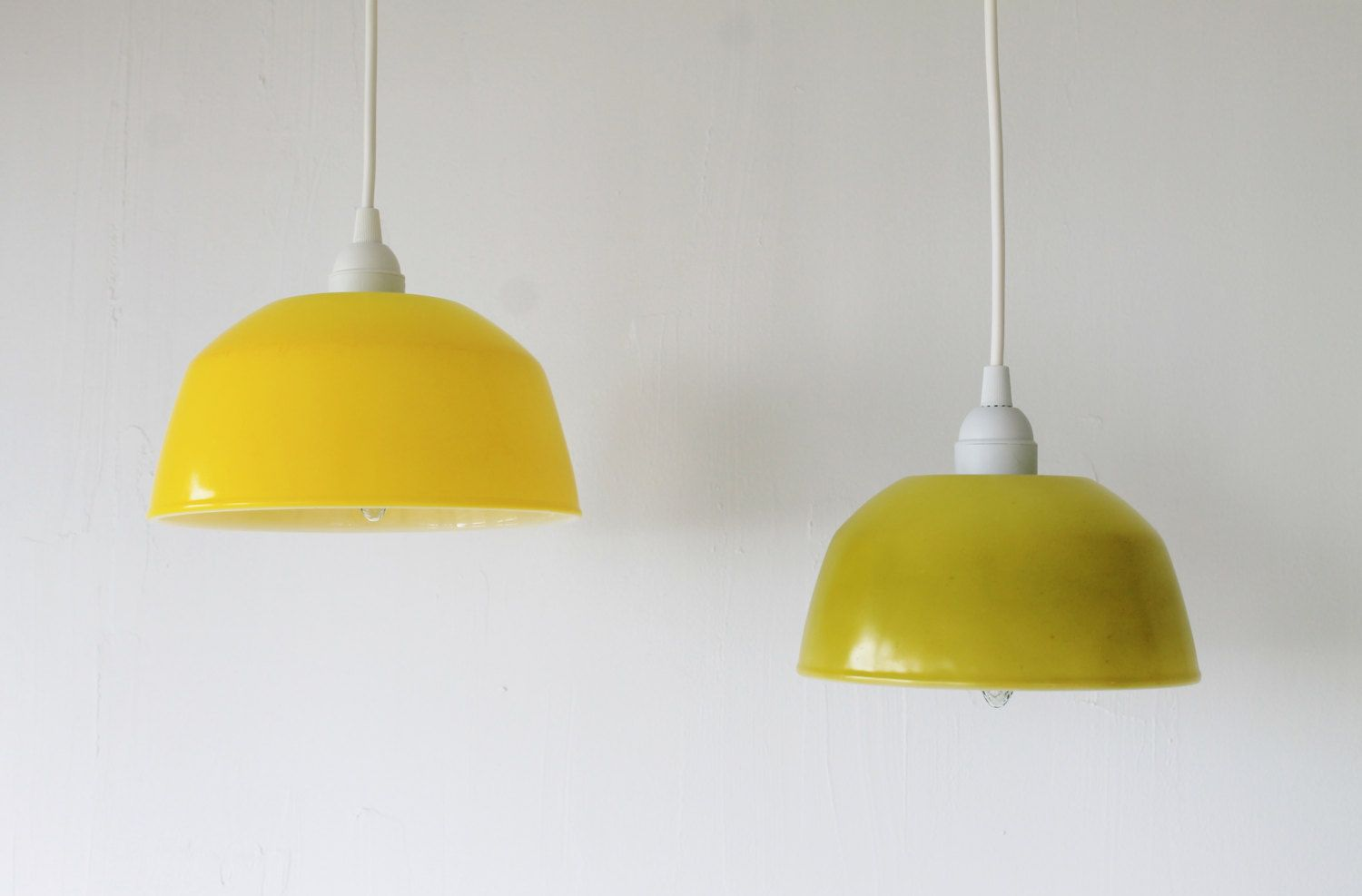 Lemon lime upcycled hanging pendant lighting fixtures for Hanging fire bowl
