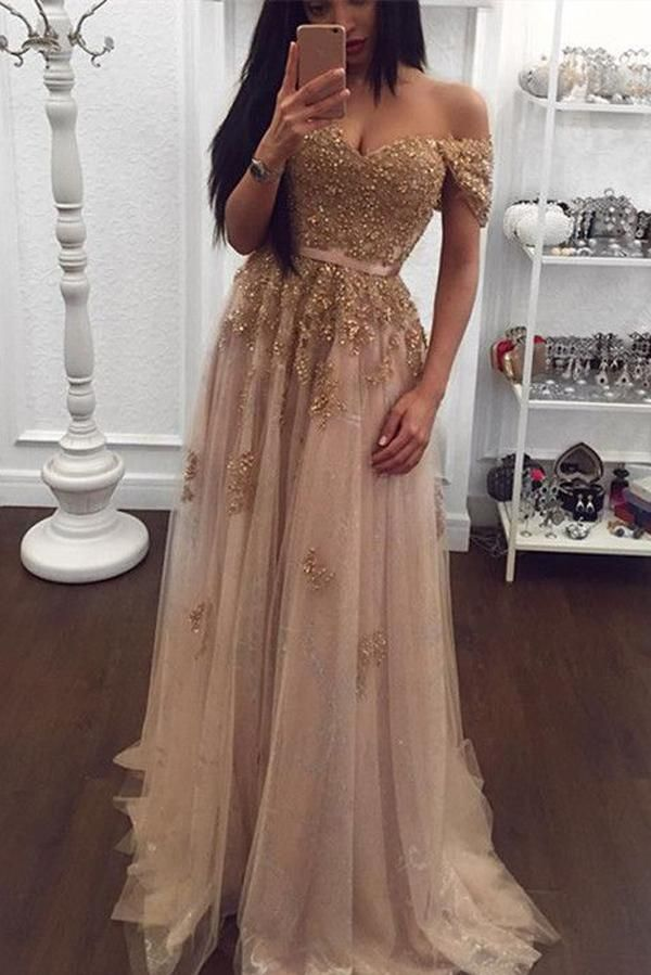 ec287eb5db7 Gold Lace Tulle Beaded Sweetheart Off Shoulder Prom Dress Evening Gowns  PL195