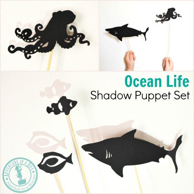 Ocean Life Shadow Puppet Set Ocean Kids Shadow Puppets Ocean Crafts