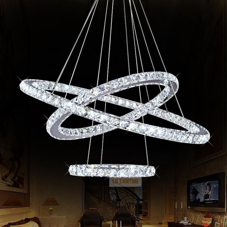Modern ring crystal contemporary chandelier lustre cristal k9 high modern ring crystal contemporary chandelier lustre cristal k9 high ceiling chandeliers led pendant lamp kroonluchters bedroom aloadofball Gallery