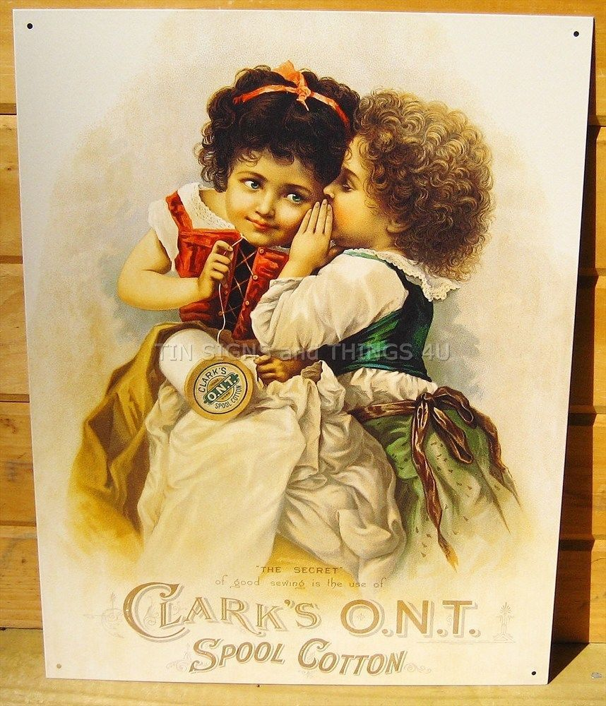 Clarks ONT Spool Cotton TIN SIGN thread sewing quilting room wall ...