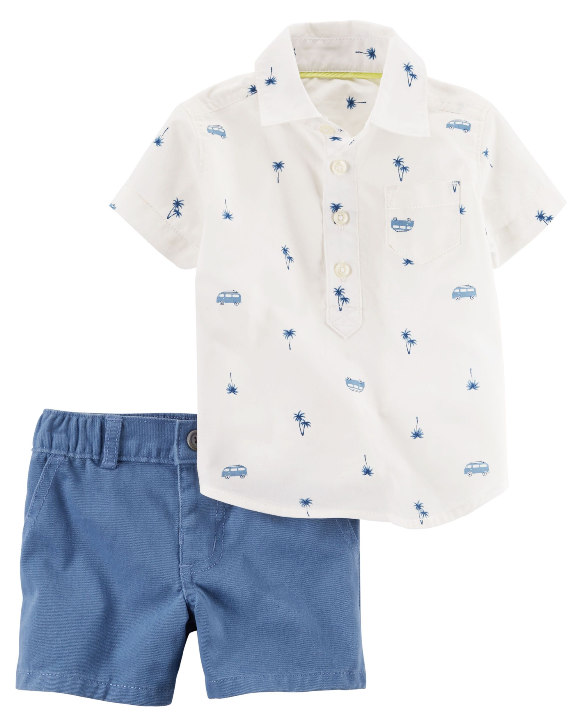 2 Piece Poplin Polo & Twill Short Set