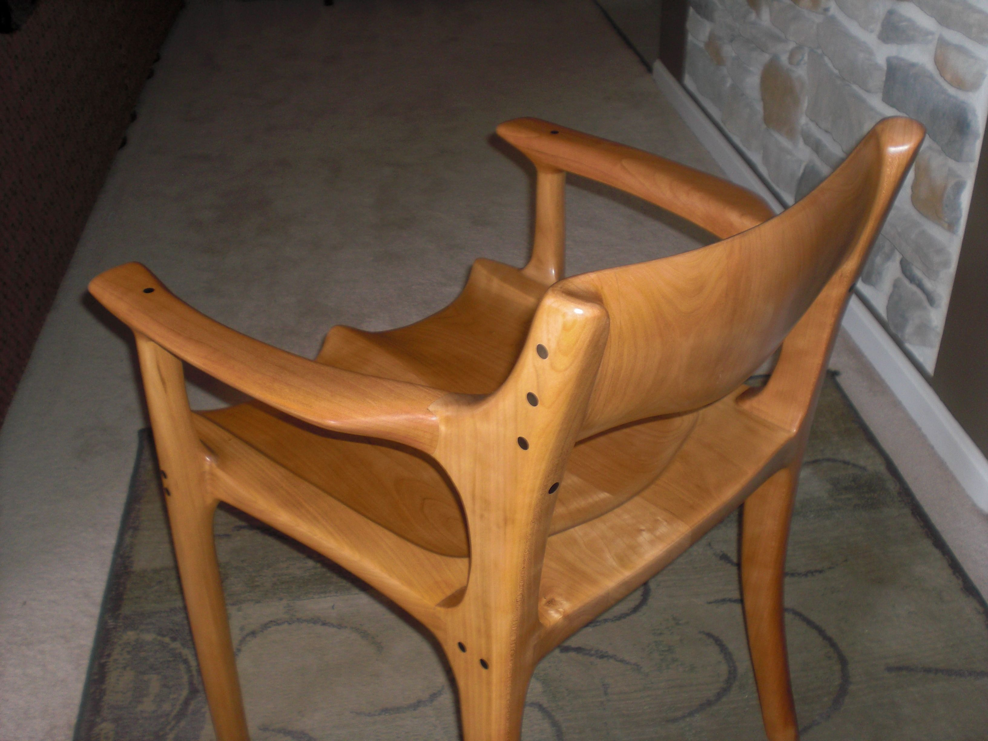 Sam Maloof Inspired Low Back Dining Chair made in Cherry with Ebony accents.