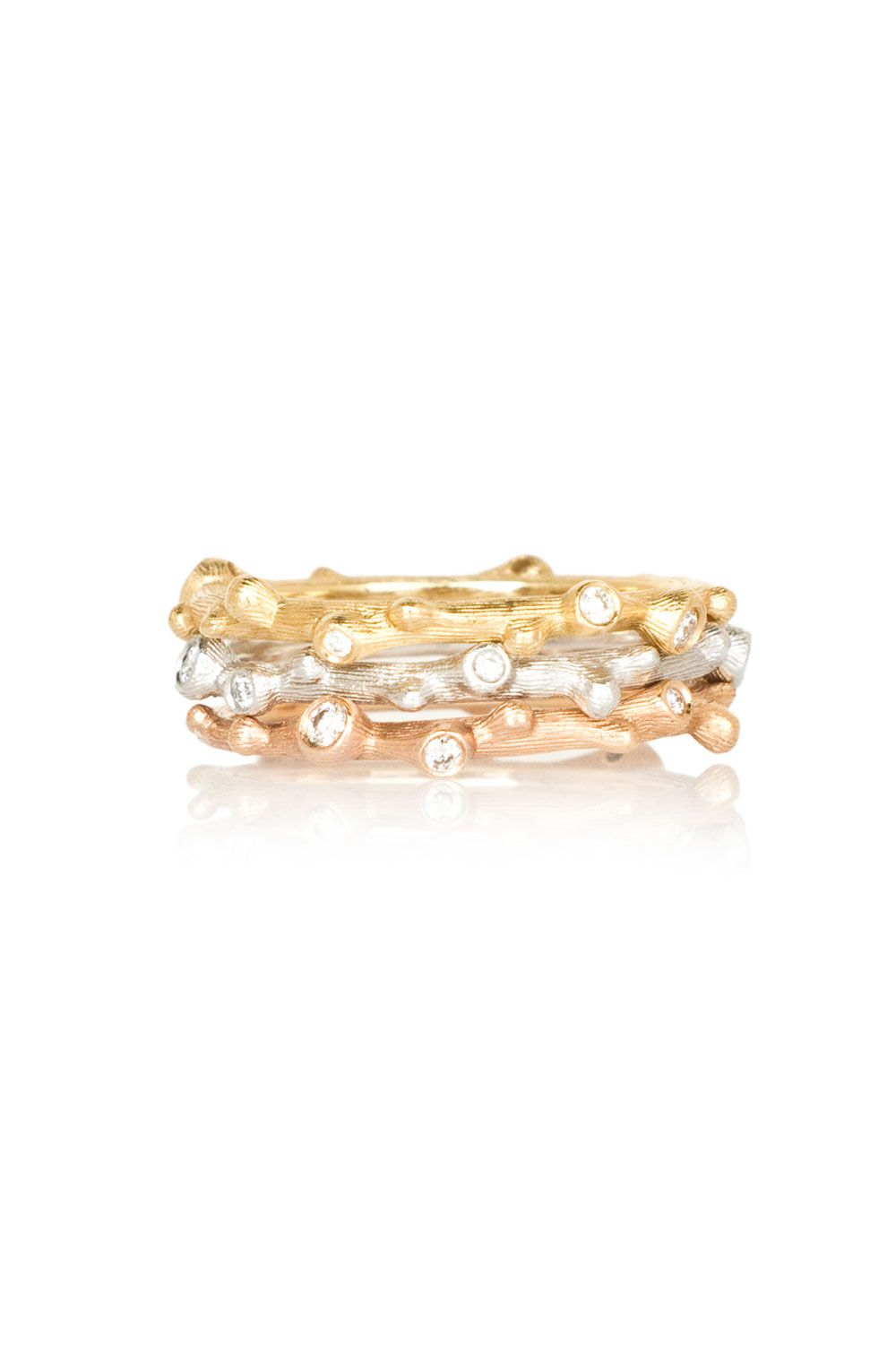 6a3c060c8db Ole Lynggaard Copenhagen Tri-gold Nature Rings with Diamonds ...