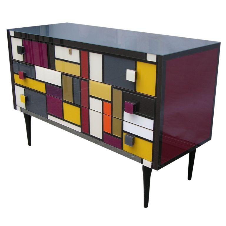 Mondrian Furniture 1980 italian glass dresser in mondrian style | glass dresser