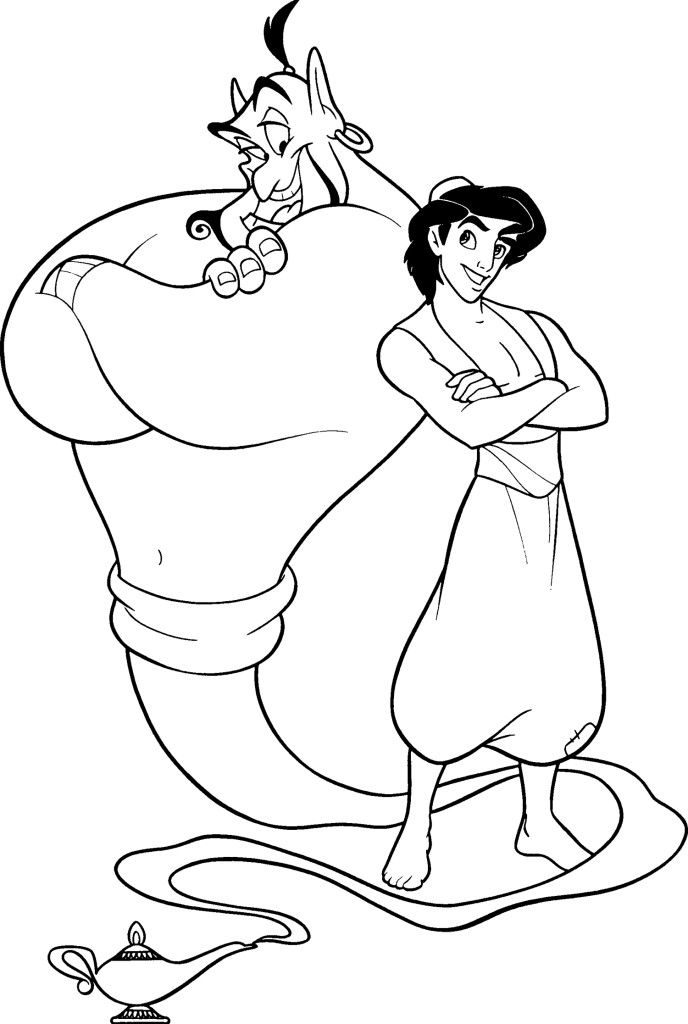 Aladdin And Genie Are Friends Coloring Page Disney Coloring Sheets Cartoon Coloring Pages Disney Coloring Pages