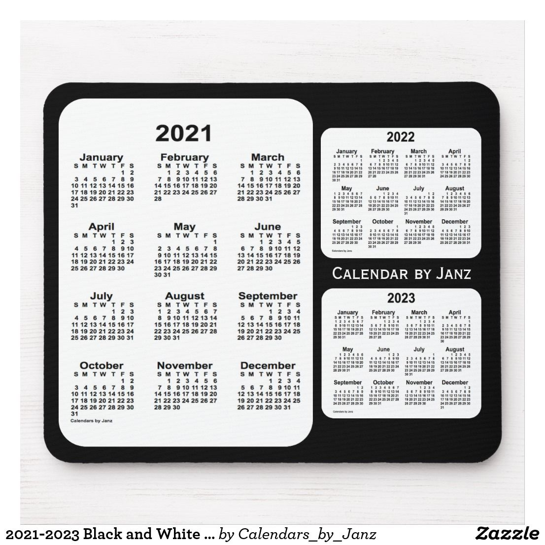 2021 2023 Black And White 3 Year Calendar By Janz Mouse Pad