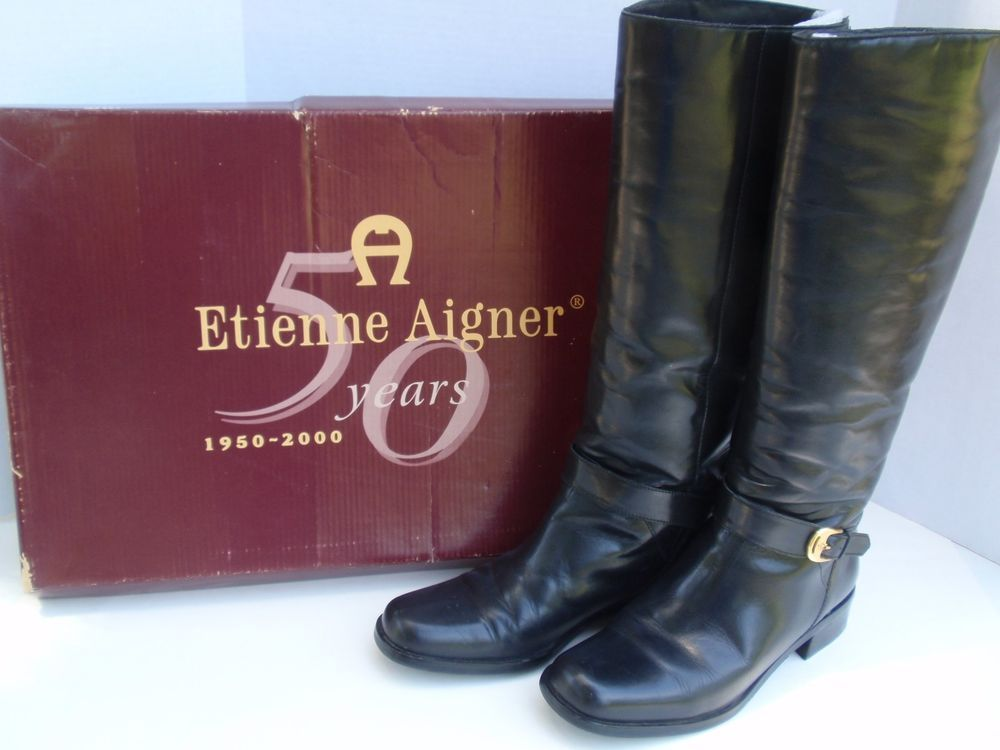 a97fceb39e Vintage Womens Etienne Aigner Black Leather Horse Riding Boots Legacy Sz 8 M  IOB  EtienneAigner  RidingBoots  CasualDress
