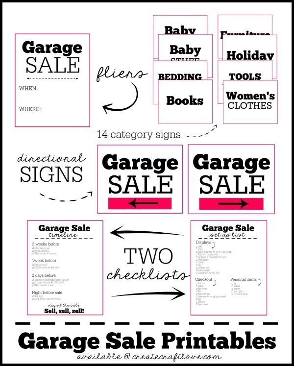 Garage Sale Printables WantNeedLove! Garage sale tips