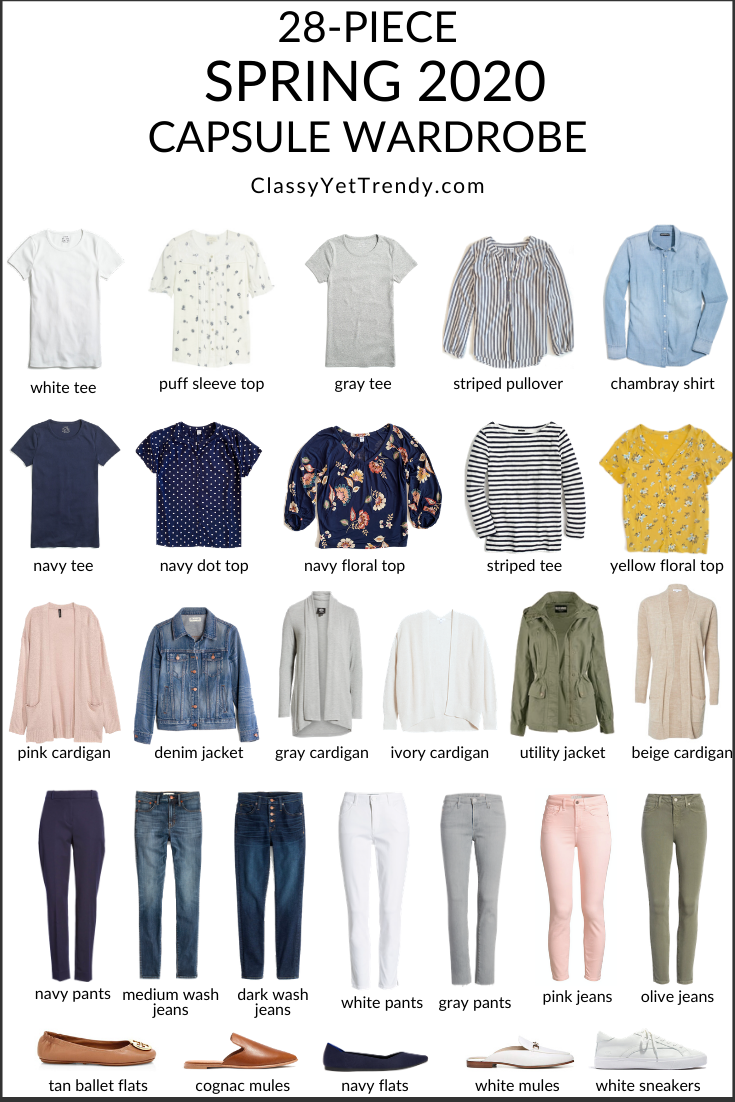 My 28 Piece Spring 2020 Capsule Wardrobe Classy Yet Trendy In 2020 Fashion Capsule Wardrobe Spring Summer Capsule Wardrobe Capsule Outfits