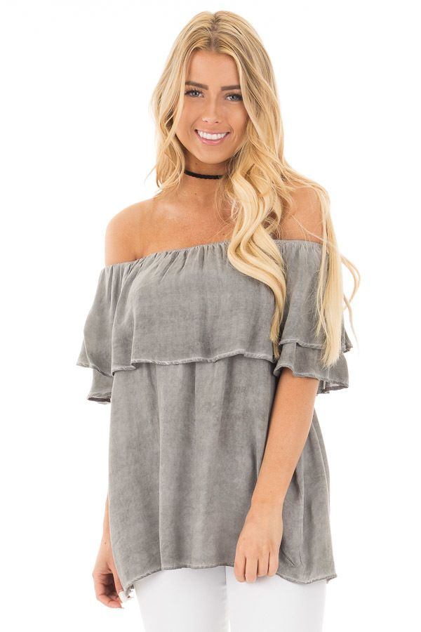 a5ead31d76c Lime Lush Boutique - Faded Charcoal Off Shoulder Top with Ruffle Overlay,  $39.99 (https