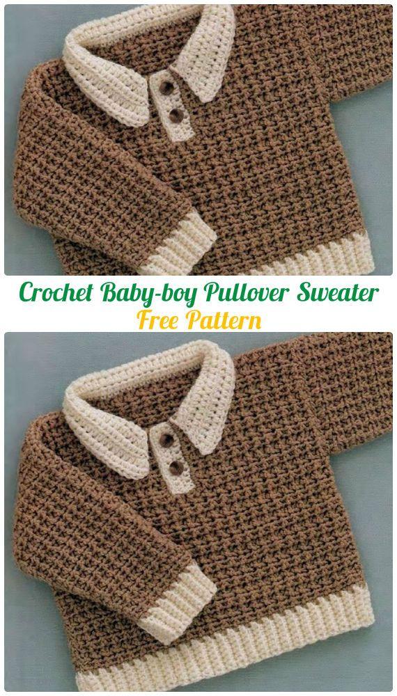 Crochet Baby-boy Pullover Sweater Free Pattern - Crochet Kid\'s ...
