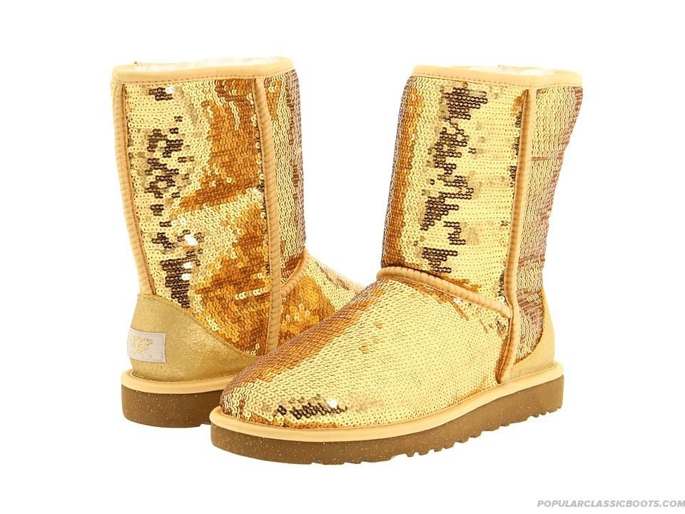 ugg boots classic short sparkles gold can never have enough shoes rh in pinterest com