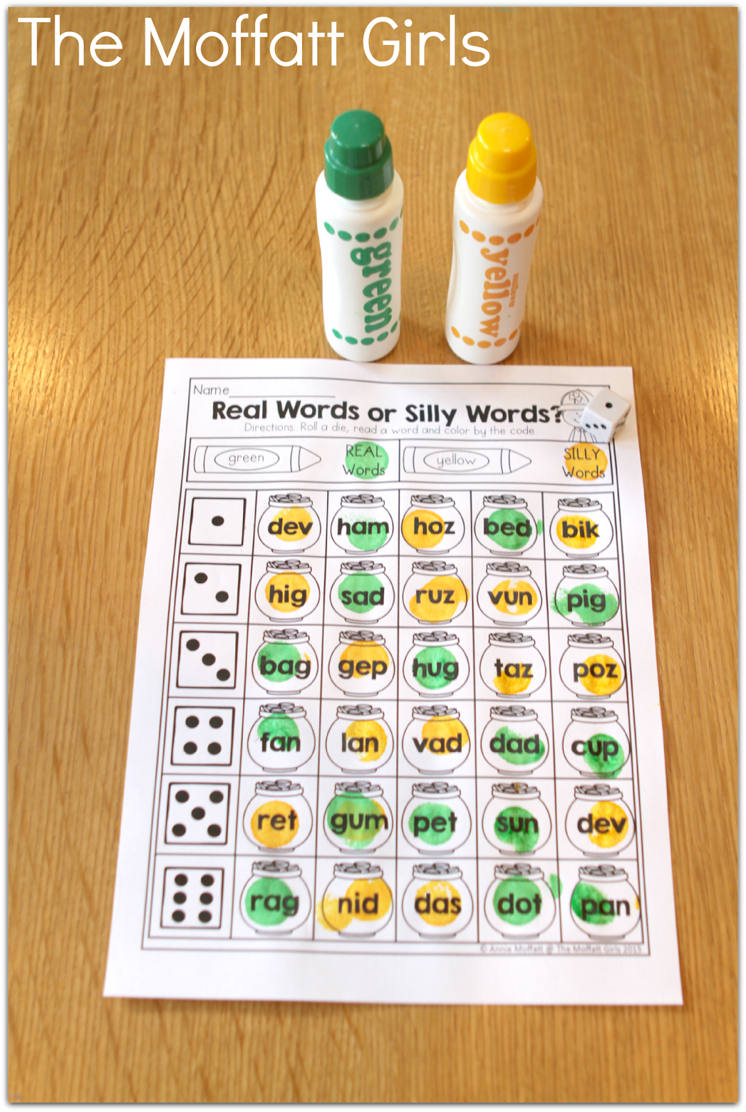 Real Or Nonsense Words Roll A And Dot A Word