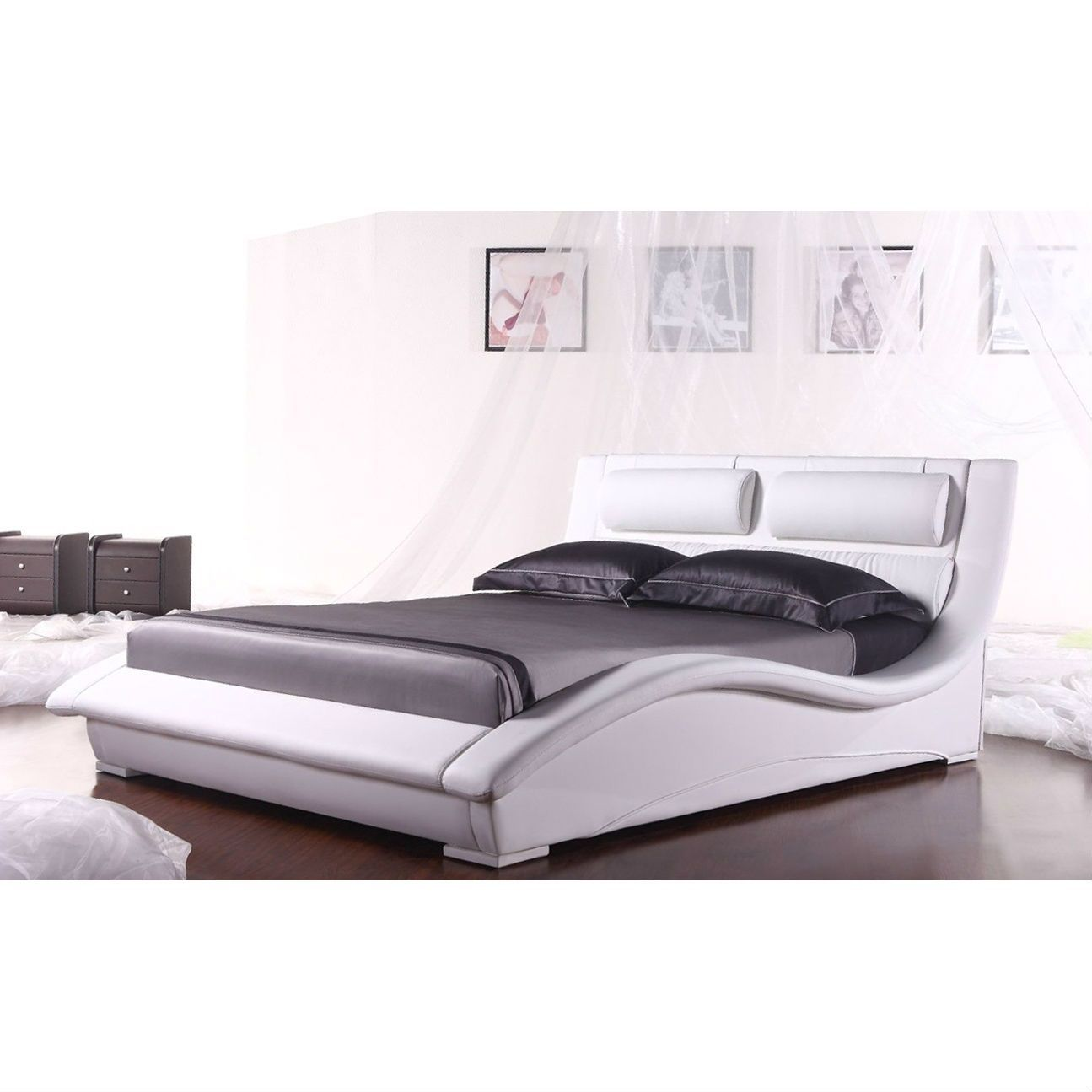 King Size Modern White Faux Leather Platform Bed w/ Headboard ...