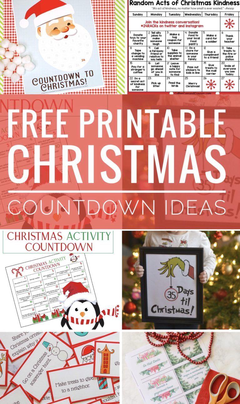 Free Printable Christmas Countdown Ideas Free Christmas Printables Christmas Countdown Christmas Printables