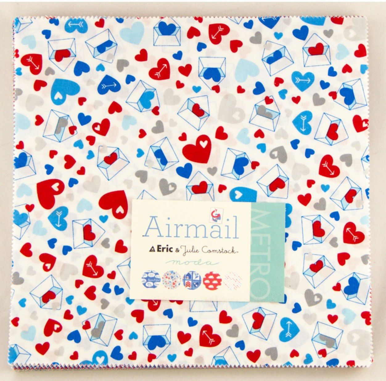 Airmail layer cake from the Comstocks for moda fabric. This listing is for 42 - 10 inch cotton squares.