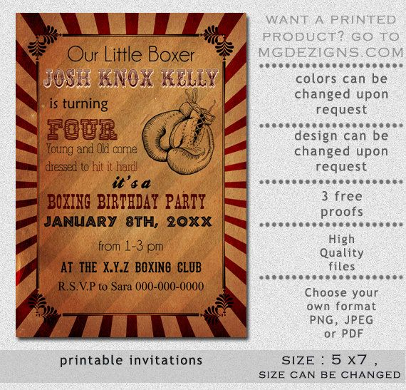 Printable Rustic Vintage Boxing Birthday Invitation Birthday - Retro birthday invitation template