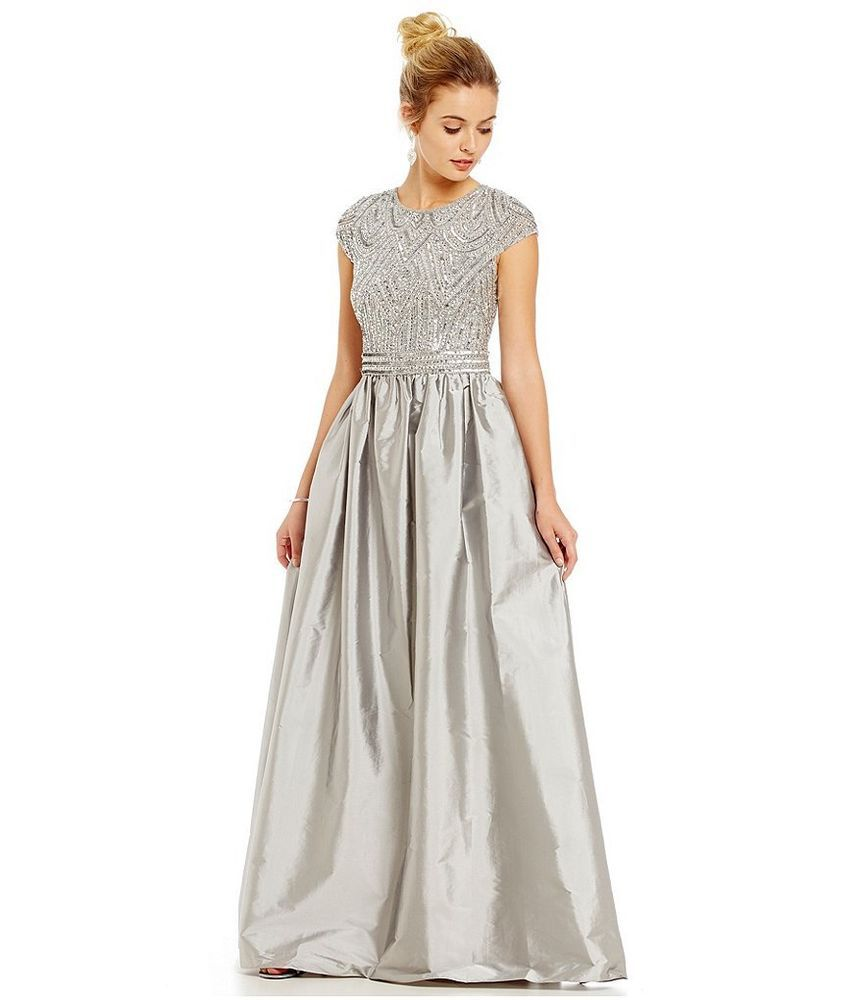7572227f09 Adrianna Papell Beaded Bodice Taffeta Skirt Ballgown In Grey Silver Size 12  NWT  AdriannaPapell  Formal