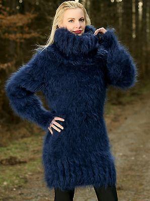 3ef8cba3367 SUPERTANYA Deep Blue Hand Knitted Sweater Fuzzy Turtleneck Fluffy Mohair  Dress