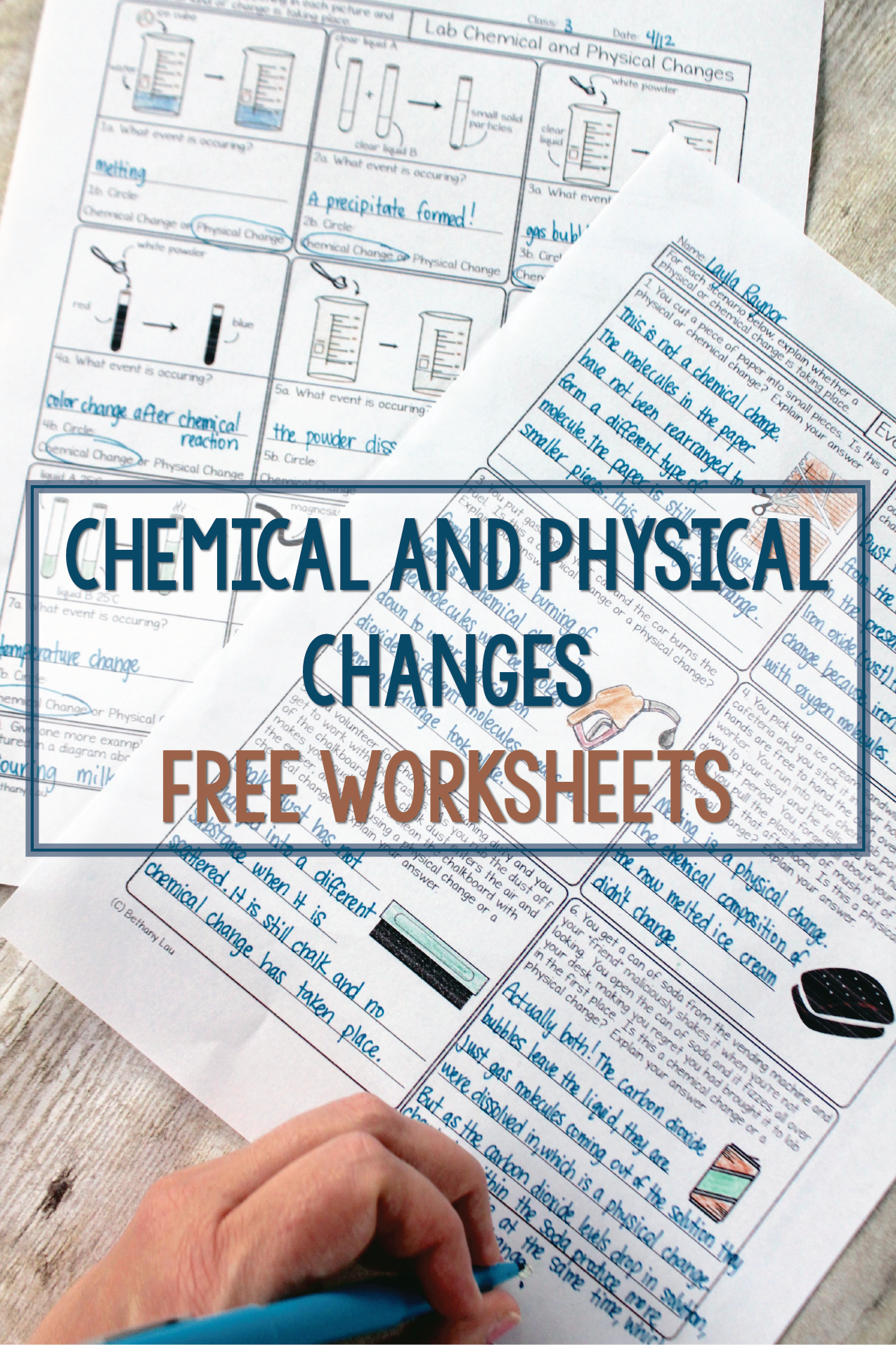 Chemical and Physical Changes Chemistry Homework Worksheets | High ...