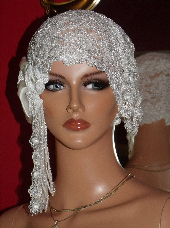Adore it - Wedding Flapper Hat Cloche Hat 1920 style Bridal White Silver  Metallic. 56b9c9781c04