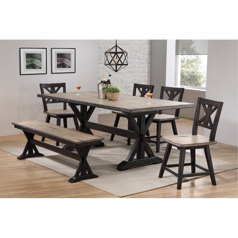 Farmhouse Sand And Black 6 Piece Dining Set With Bench Orlando