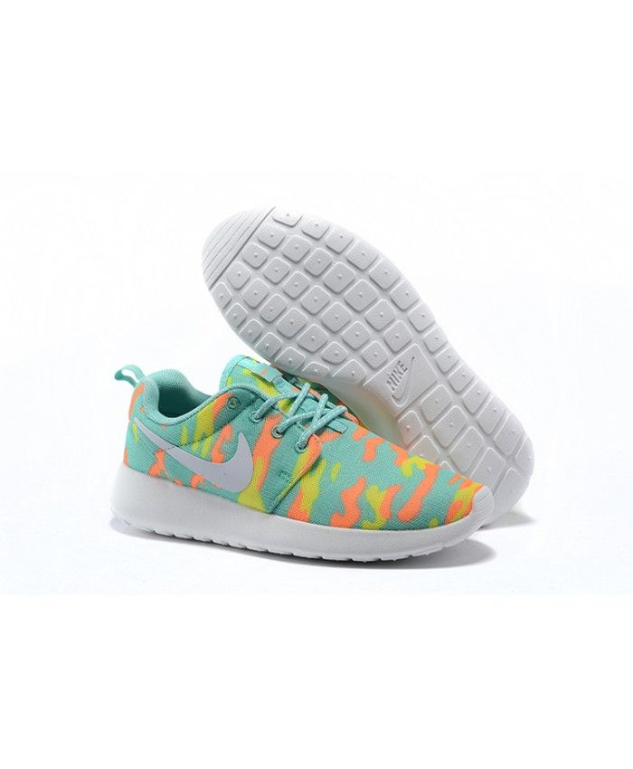 wholesale dealer 0e62a 55109 Femme Nike Roshe Run Blue Orange Fluorescent Vert Chaussures