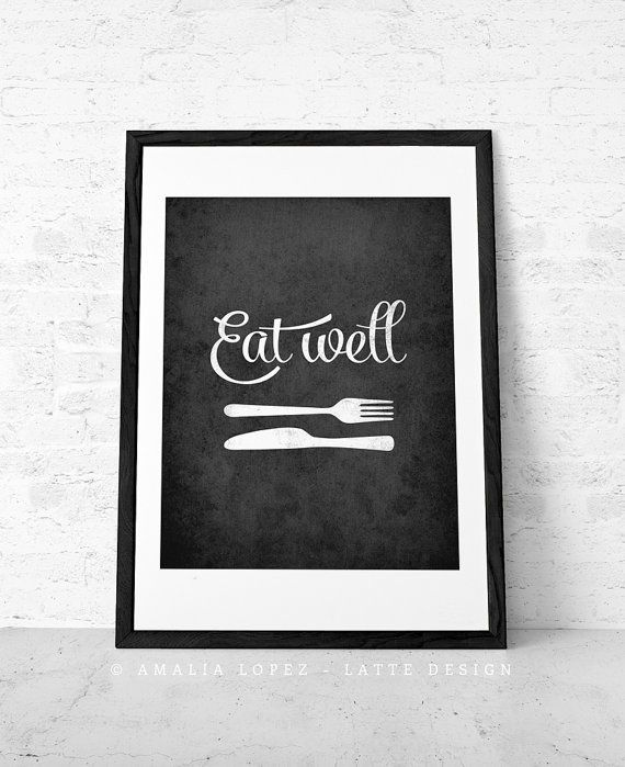 Mothers day eat well kitchen print kitchen wall art kitchen decor kitchen poster eat well print black and white print mothers day gift uk