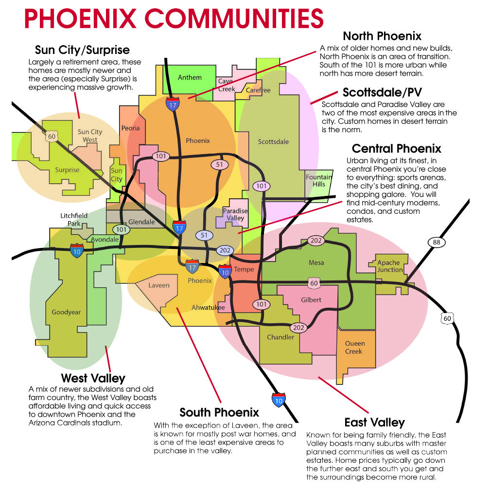 Map Of Phoenix Arizona Area.Neighborhoods Map Get The Lay Of The Land Including The Areas Of