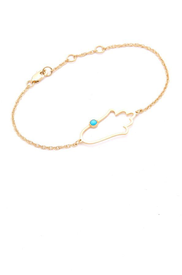 Jennifer Zeuner Open Hamsa Bracelet with Turquoise dQWeaC