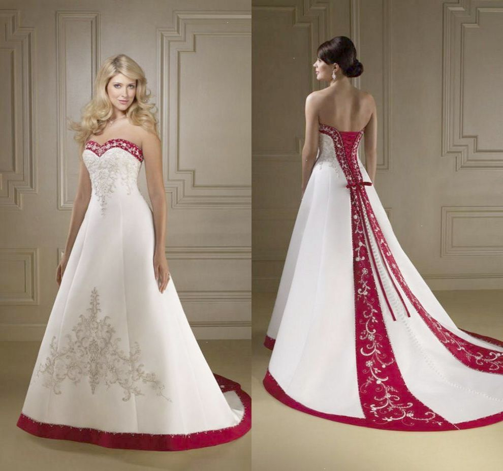 Exquisite strapless red and white wedding dresses a line luxury
