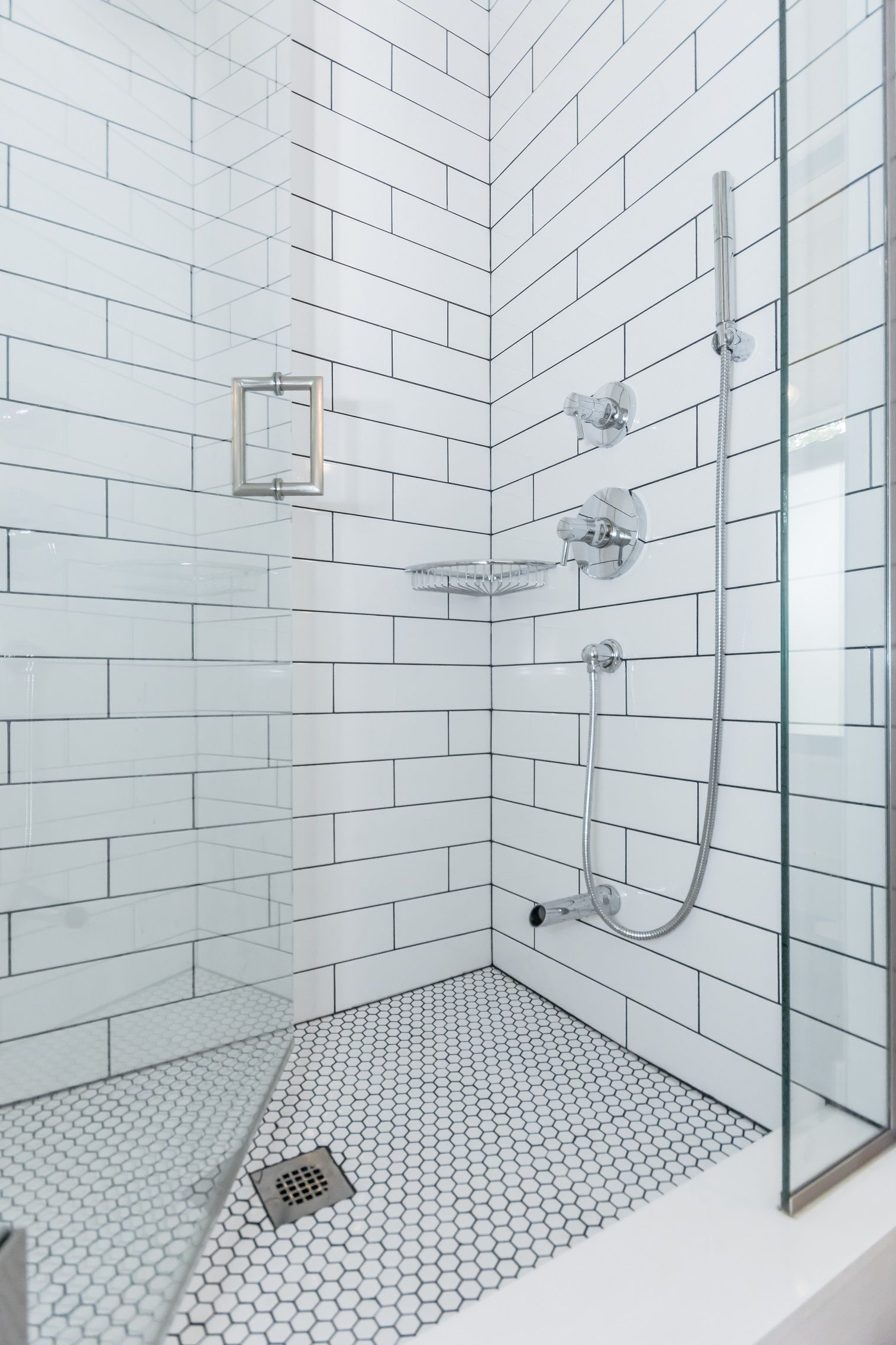 Classic White Subway Tiled Shower With Soho 4x16 Glossy