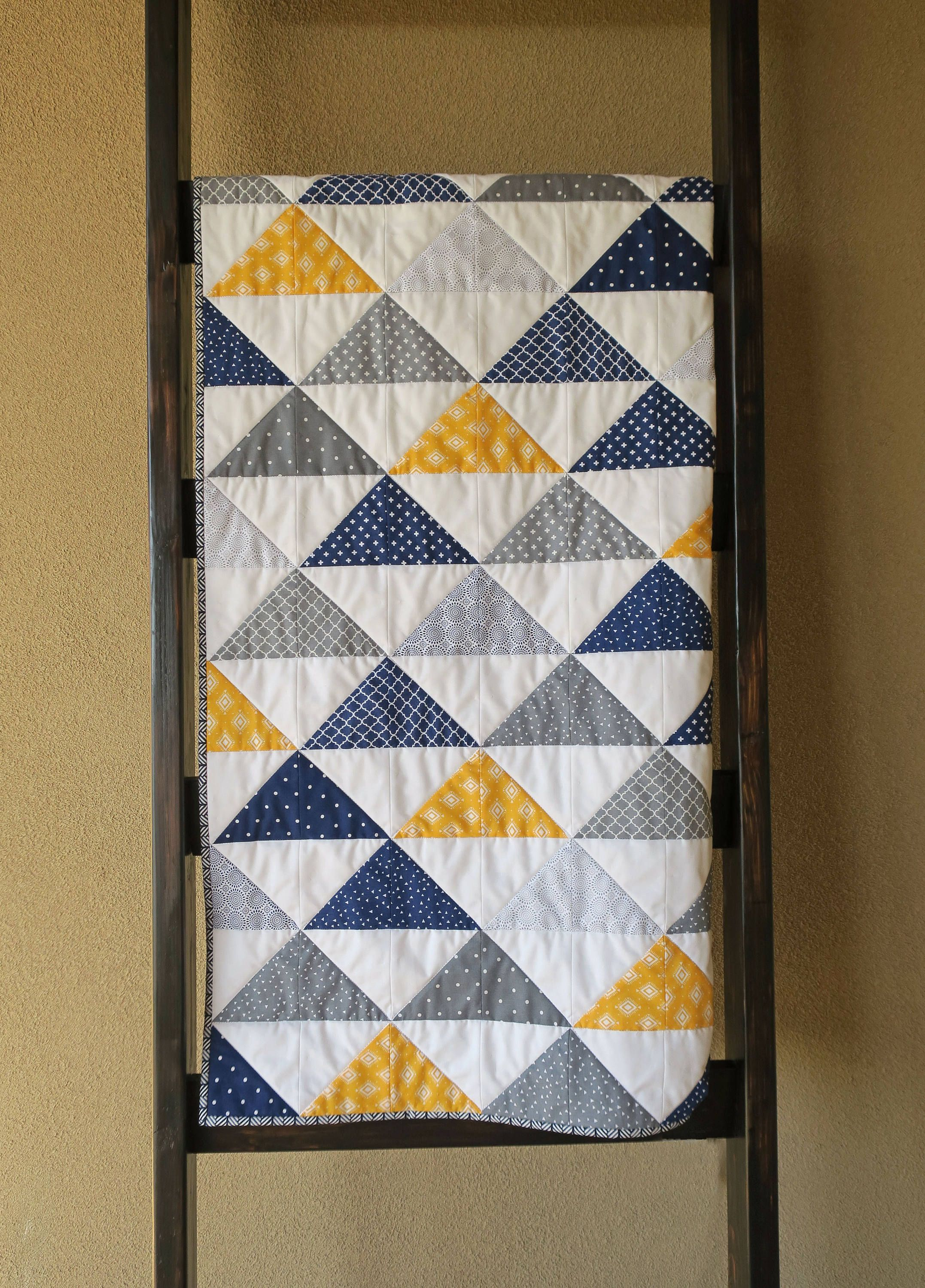 Blue Gray And Gold Mustard Yellow Quilt Triangle Pattern So Cute Quilts Quilt Sewing Patterns Throw Quilt