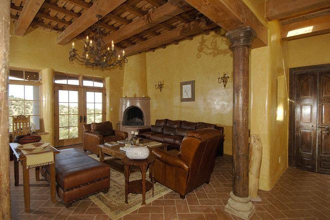 A Pueblo-Revival in Santa Fe   Southwestern home, Interior ...