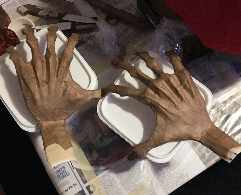 Creepy paper maché hands for my ghost costume Manning