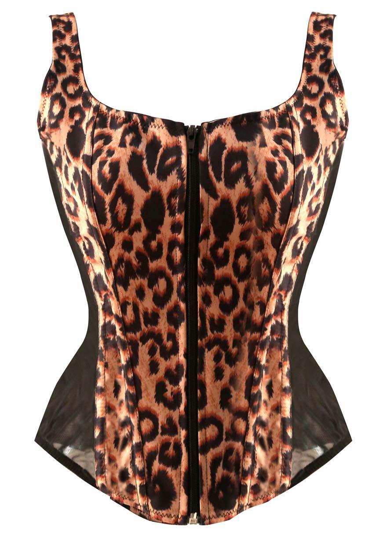 black leopard print square neck bustier corset_corset tops_corset