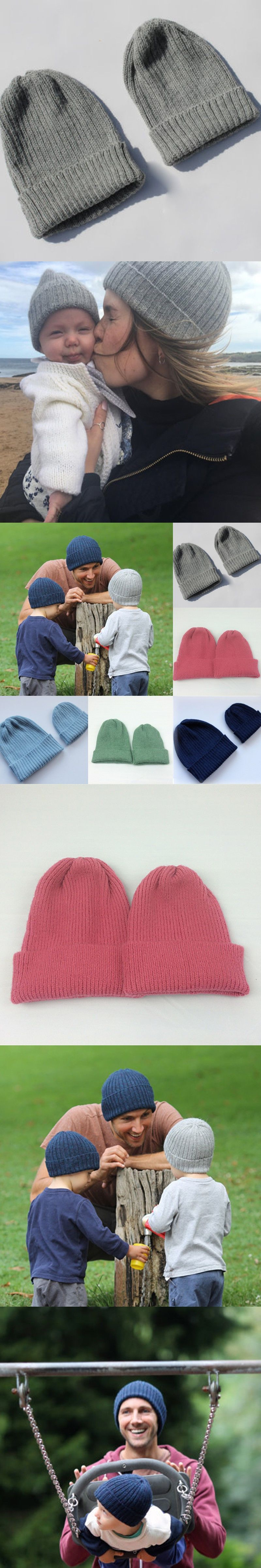 2PCS Knitted Cap Lovely Cute Parent-Child Warm Autumn Winter Woolen Beanie  Hat Family Match 794ee65c853
