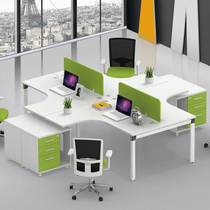 New Design Modular Office Furniture 4 Person Desk Cross Style Cubicles Workstations