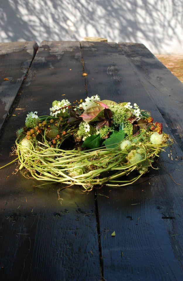wreath with anthuria - Kranz mit Anthurien