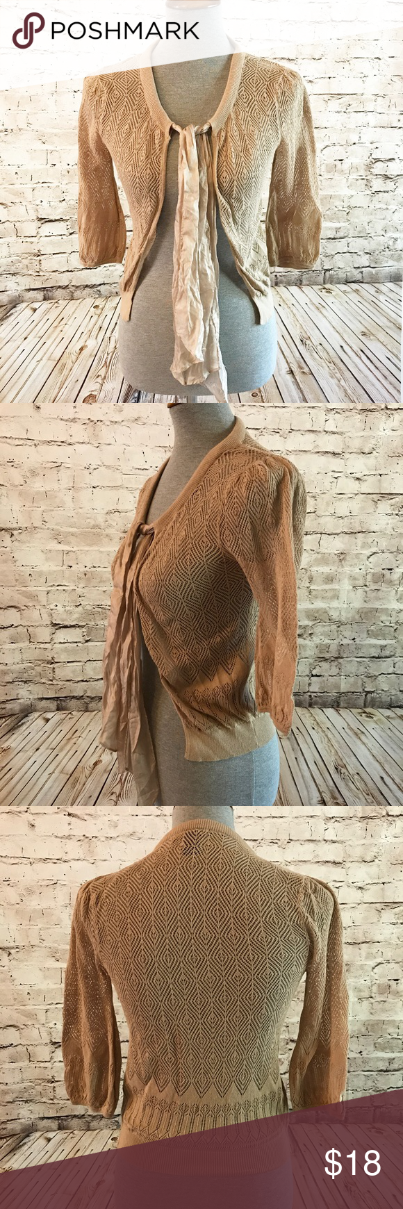 MNG Suit Crochet Lace Shrug Ribbon Tie Tan Sweater | Lace shrug ...