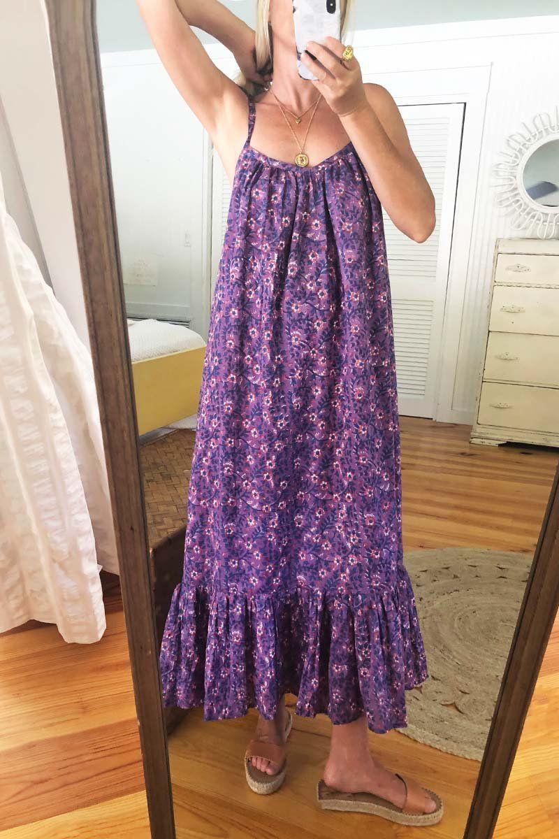 India Sundress Violet Wildflower Simple Summer Dresses Sundress Classic Summer Dresses [ 1200 x 800 Pixel ]