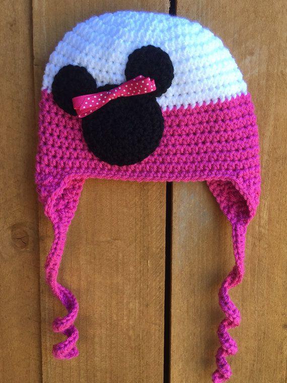 Crochet bebé adulto niño ratón cabeza orejera gorro sombrero ... 8aea13b34fc