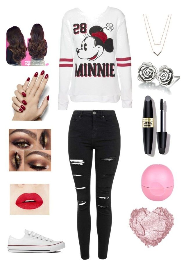 """""""Minnie Mouse"""" by mckaylahooks on Polyvore featuring Disney, Topshop, Converse, Chamilia, Michael Kors, Max Factor and River Island"""