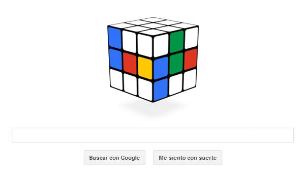 Doodle del Cubo de Rubik con motivo de su 40 aniversario.