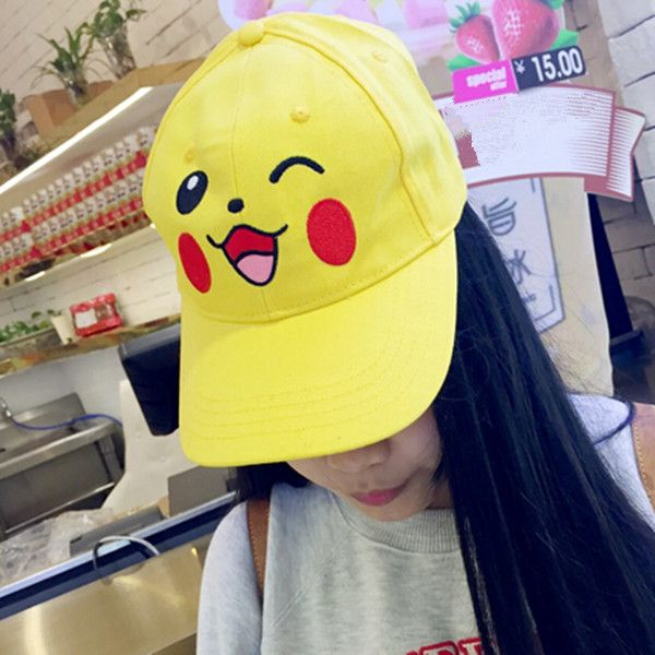 8d780584bfd Pocket Monster Pikachu baseball caps for girls yellow embroidered ...
