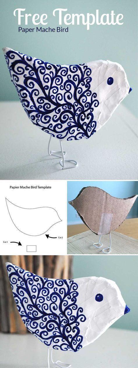 Photo of Mache einen Pappmaché-Vogel, eine kostenlose Druckvorlage und Anleitungen … – Handwerk