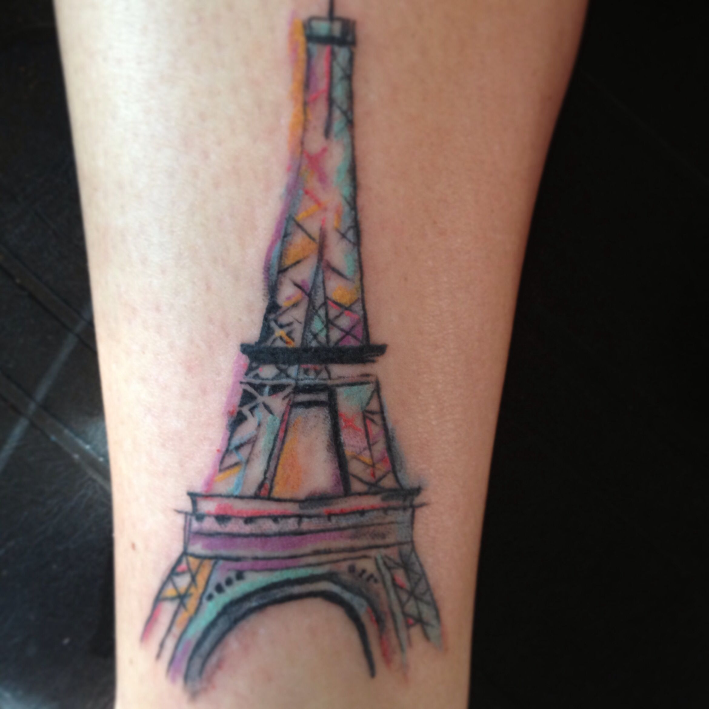 Eiffel tower water color tattoo i don 39 t think i would get for Tattoo artist paris