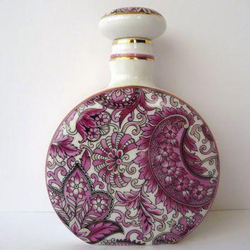 Beautiful Perfume Bottle - White Porcelain with Purple Flowers - Vintage