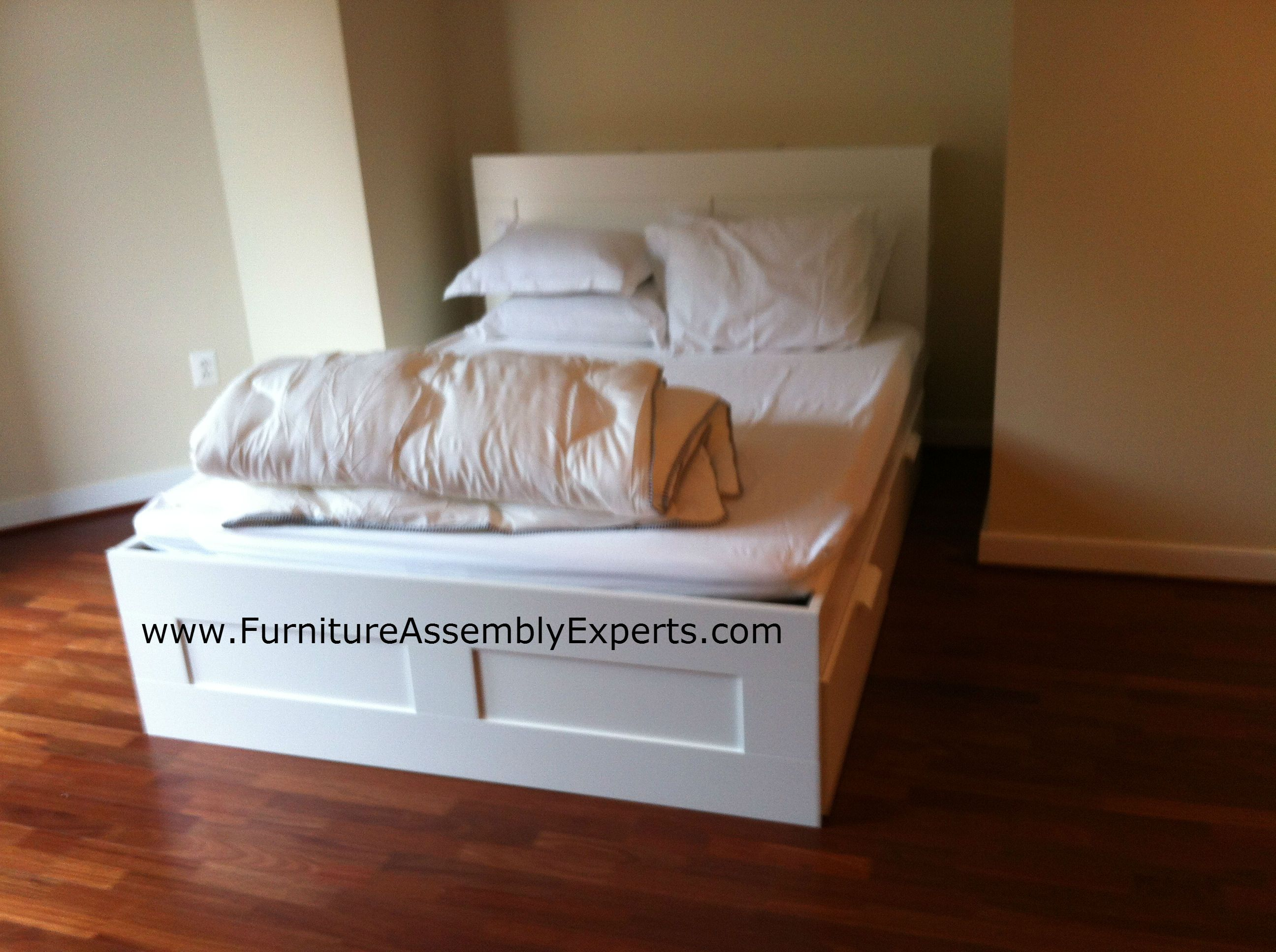 Ikea Brimnes Storage Bed With 4 Drawers And Headboard Assembled In